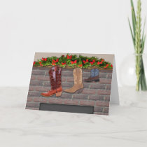 Cowboy Boot Stockings by the Fireplace Holiday Card