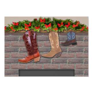 Cowboy Boot Stockings by the Fireplace Invitation