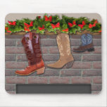 Cowboy Boot Stockings by the Fireplace Mouse Pad