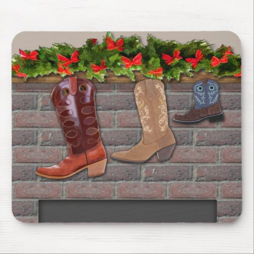 Cowboy Boot Stockings by the Fireplace Mousepad