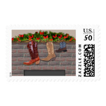 Cowboy Boot Stockings by the Fireplace Postage