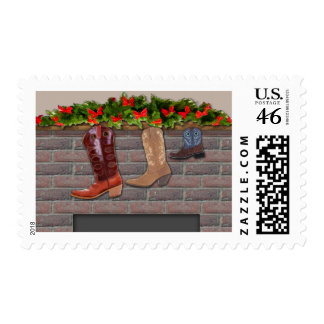 Cowboy Boot Stockings by the Fireplace Postage Stamps