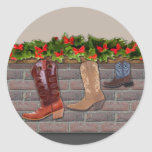 Cowboy Boot Stockings by the Fireplace Round Sticker