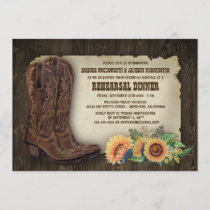 Cowboy Boot Sunflower Rehearsal Dinner Invitations