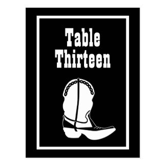 Cowboy Boot Table Numbers (Black / White) Post Cards