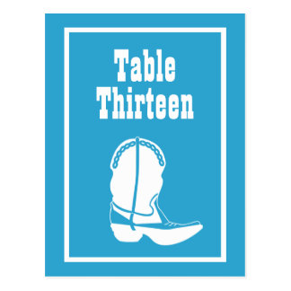 Cowboy Boot Table Numbers (Blue / White) Post Cards
