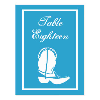 Cowboy Boot Table Numbers (Blue / White) Postcards