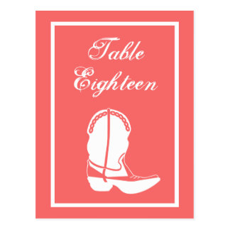 Cowboy Boot Table Numbers (Coral / White) Post Card