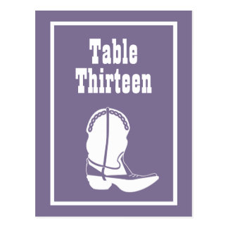 Cowboy Boot Table Numbers (Eggplant / White) Postcard
