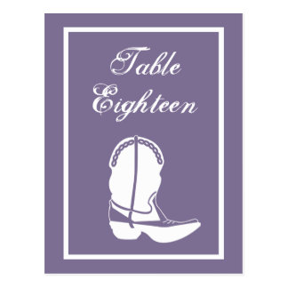 Cowboy Boot Table Numbers (Eggplant / White) Post Cards