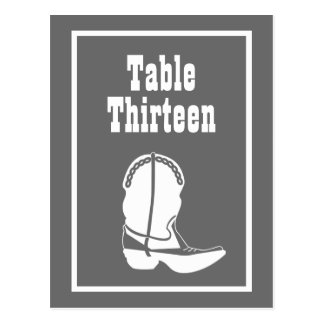 Cowboy Boot Table Numbers (Gray / White) Post Cards