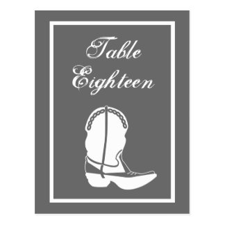 Cowboy Boot Table Numbers (Gray / White) Postcards