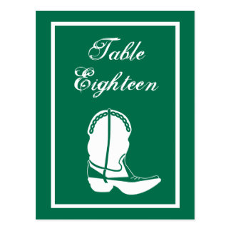 Cowboy Boot Table Numbers (Green / White) Post Cards