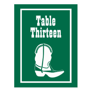 Cowboy Boot Table Numbers (Green / White) Postcard