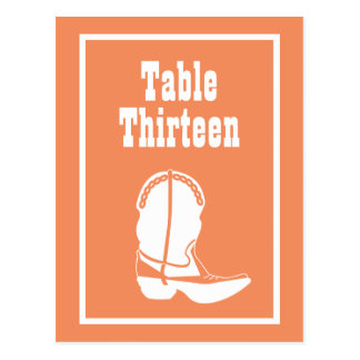 Cowboy Boot Table Numbers (Orange / White) Postcards