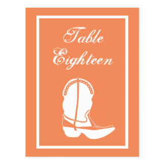 Cowboy Boot Table Numbers (Orange / White) Post Card