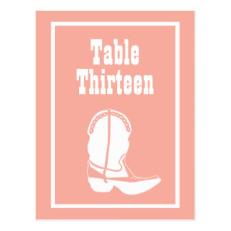 Cowboy Boot Table Numbers (Peach / White) Postcards