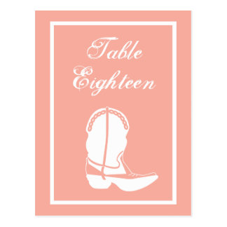 Cowboy Boot Table Numbers (Peach / White) Postcard