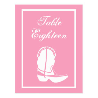 Cowboy Boot Table Numbers (Pink / White) Post Card