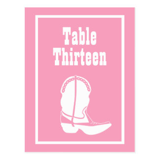 Cowboy Boot Table Numbers (Pink / White) Post Cards