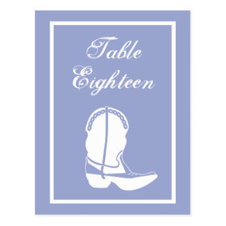 Cowboy Boot Table Numbers (Purple / White) Post Card