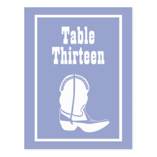 Cowboy Boot Table Numbers (Purple / White) Post Cards