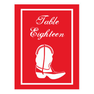 Cowboy Boot Table Numbers (Red / White) Post Card