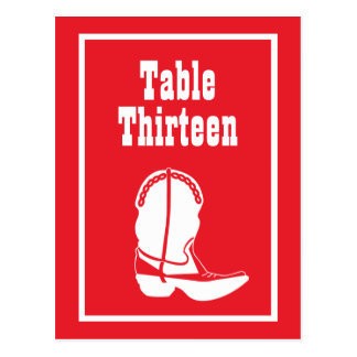 Cowboy Boot Table Numbers (Red / White) Postcard