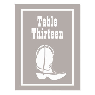 Cowboy Boot Table Numbers (Sand / White) Postcards