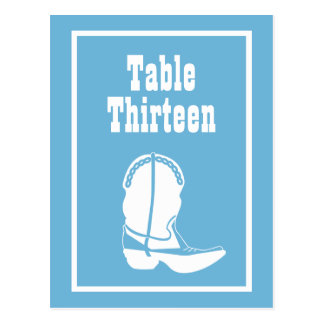 Cowboy Boot Table Numbers (Sky Blue / White) Postcards