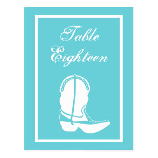 Cowboy Boot Table Numbers (Teal / White) Post Card