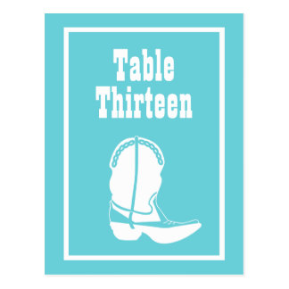 Cowboy Boot Table Numbers (Teal / White) Postcards