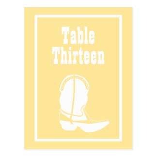 Cowboy Boot Table Numbers (Yellow / White) Post Card