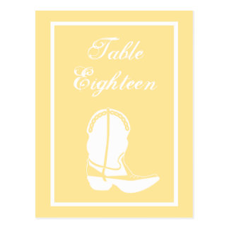 Cowboy Boot Table Numbers (Yellow / White) Postcards