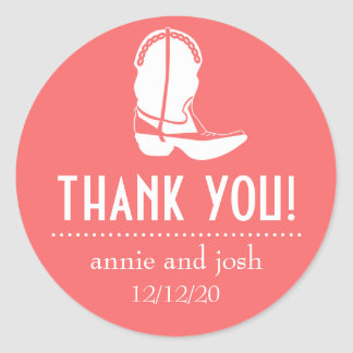 Cowboy Boot Thank You Labels (Coral / White) Classic Round Sticker