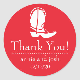 Cowboy Boot Thank You Labels (Red / White) Classic Round Sticker