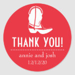Cowboy Boot Thank You Labels (Red / White) Stickers