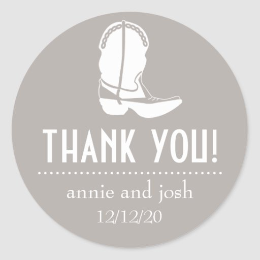 Cowboy Boot Thank You Labels (Sand / White) Stickers