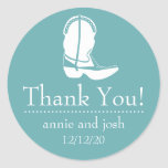 Cowboy Boot Thank You Labels (Sea Foam / White) Classic Round Sticker