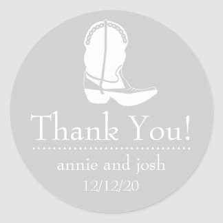 Cowboy Boot Thank You Labels (Silver Gray / White) Classic Round Sticker