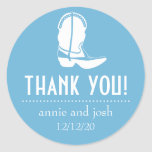 Cowboy Boot Thank You Labels (Sky Blue / White) Classic Round Sticker