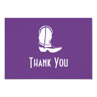 Cowboy Boot Thank You Note Cards (Dark Purple) Personalized Invite