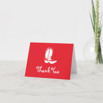 Cowboy Boot Thank You Note Cards (Red)
