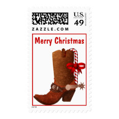 Cowboy Boot With Candy Cane Christmas Stamp at Zazzle