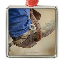 Cowboy boot with spur 2 metal ornament