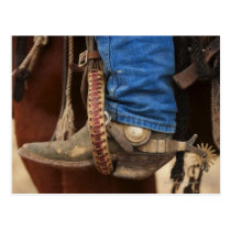 Cowboy boot with spur postcard