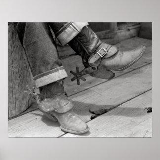 Cowboy Boots, 1940. Vintage Photo Poster