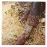 Cowboy boots 2 ceramic tiles