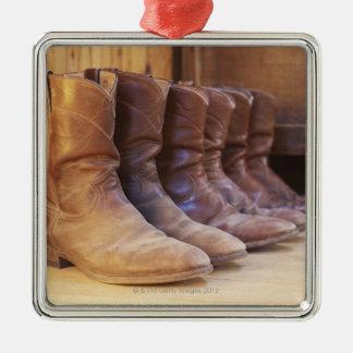 Cowboy boots 3 metal ornament