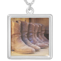 Cowboy boots 3 silver plated necklace